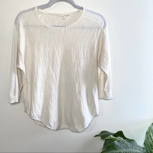 Moth Anthropologie white knit 3/4 sleeve top xs